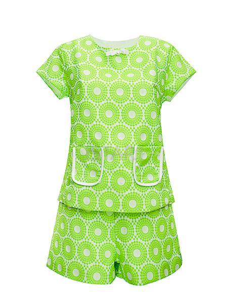 嫩绿色清新印花休闲女式套装