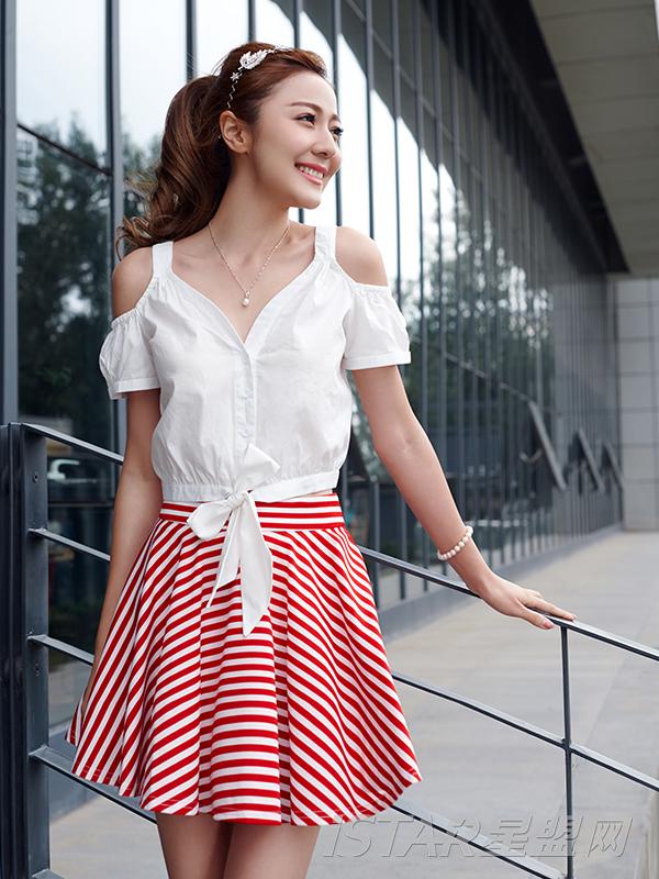 甜美学院风高腰条纹短裙
