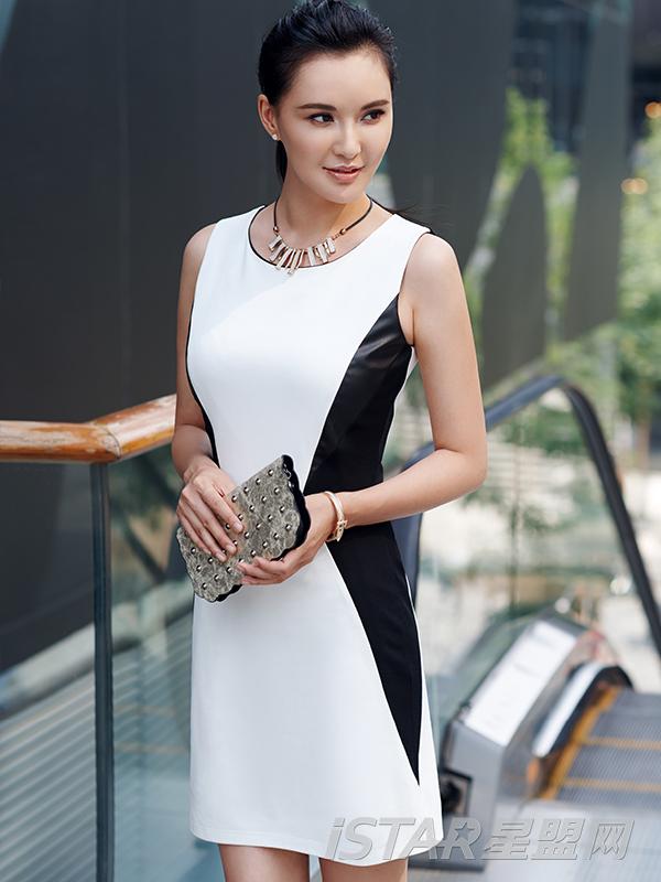 3D立体黑白连衣裙
