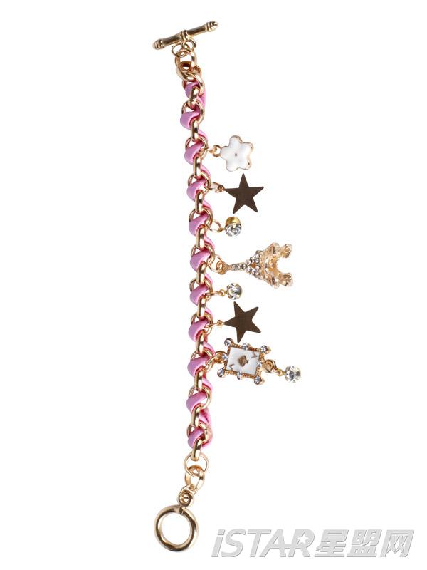 金属质感水钻吊饰皮绳手链