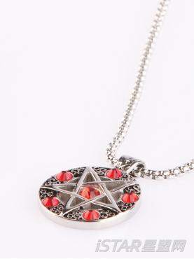 星星控五角星红宝石项链