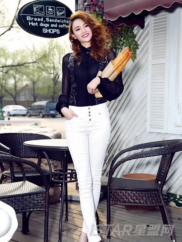 白色高腰弹力棉裤