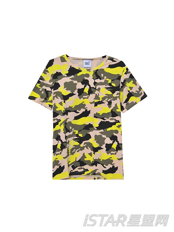 三色迷彩短袖T恤