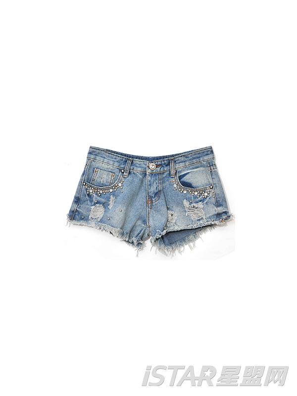 低腰镶钻钉珠磨白牛仔女裤