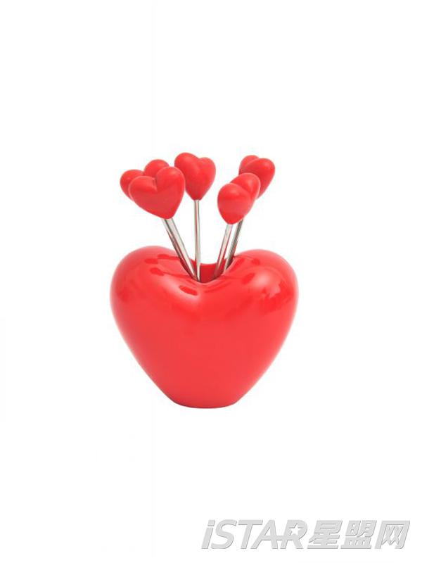 立体爱心不锈钢水果叉水果签