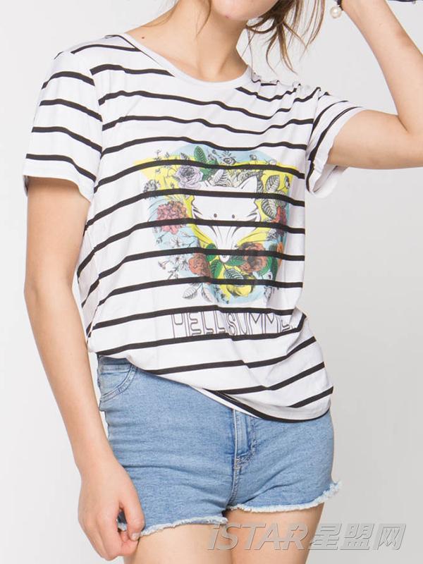 幻彩狐狸头经典条纹T恤