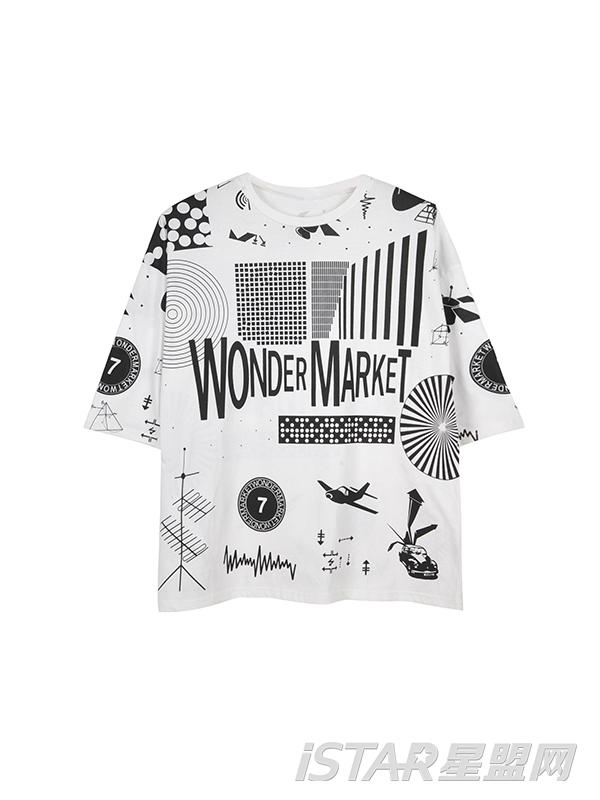 字母五分袖潮T恤