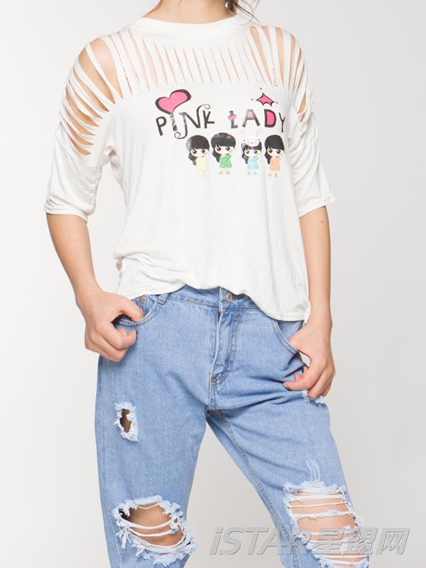 镂空性感短袖T恤上衣