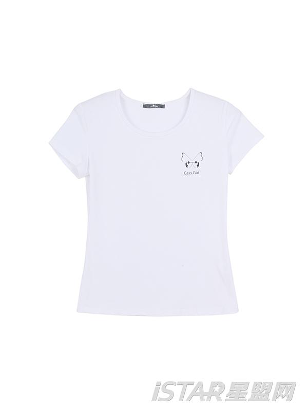 盖天天净色纯棉宽松T恤