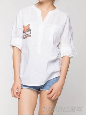 潮流logo图腾V领棉麻上衣