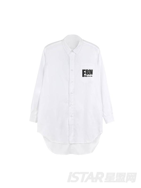 源于生活概念系列字母定制不规则下摆男衬衫