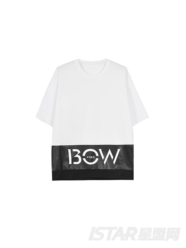 BOW定制 黑白拼色宽松T恤