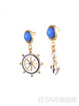 深邃蓝海军风船锚耳钉