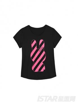 Xin星兔粉条纹定制修身T恤