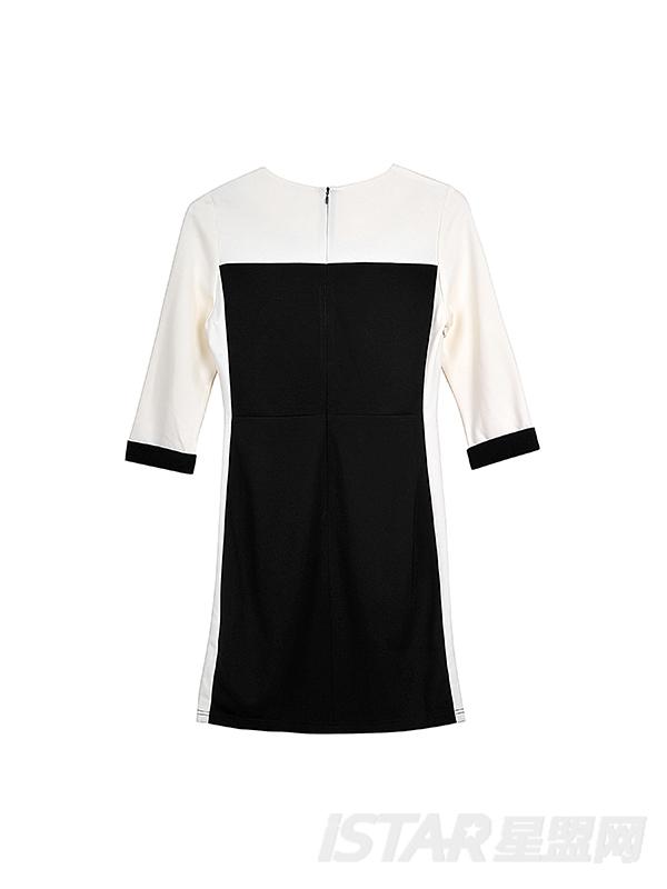 黑白拼接分割连衣裙