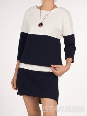 蓝白拼色不规则下摆套装裙