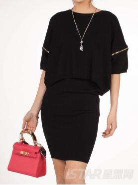 经典黑时尚拉链连衣裙套装