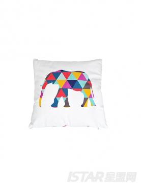 撞色创意几何拼图大象抱枕