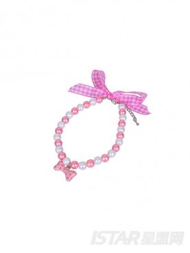 粉白格纹宠物珍珠项链