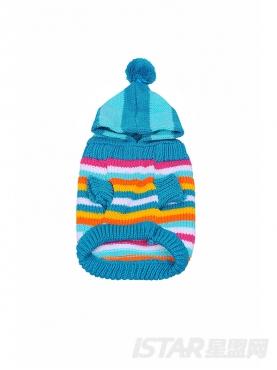彩条带帽保暖宠物服