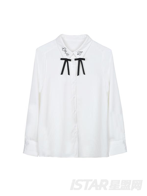 领口蝴蝶写衬衫