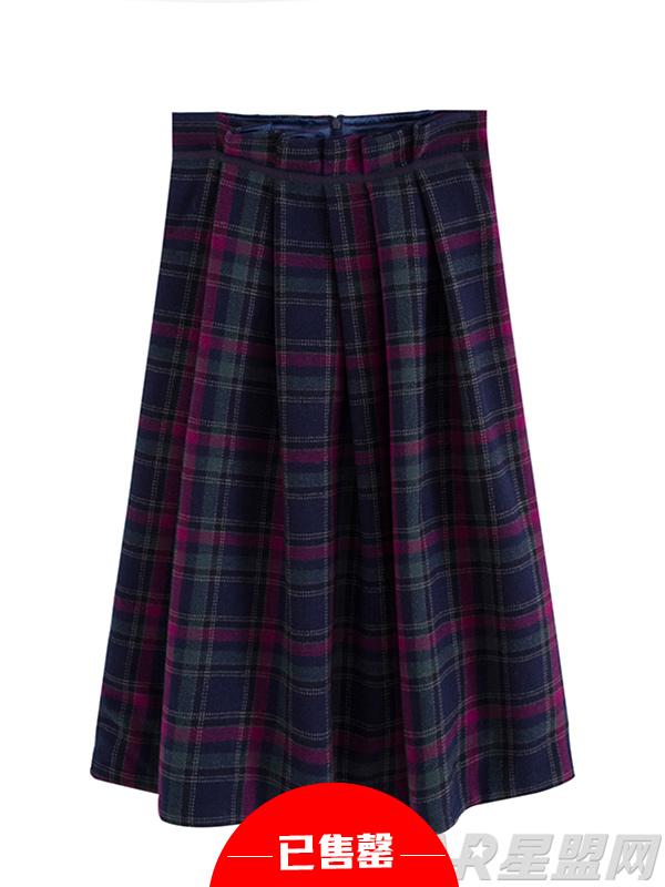 格子半身中裙复古高腰百褶裙