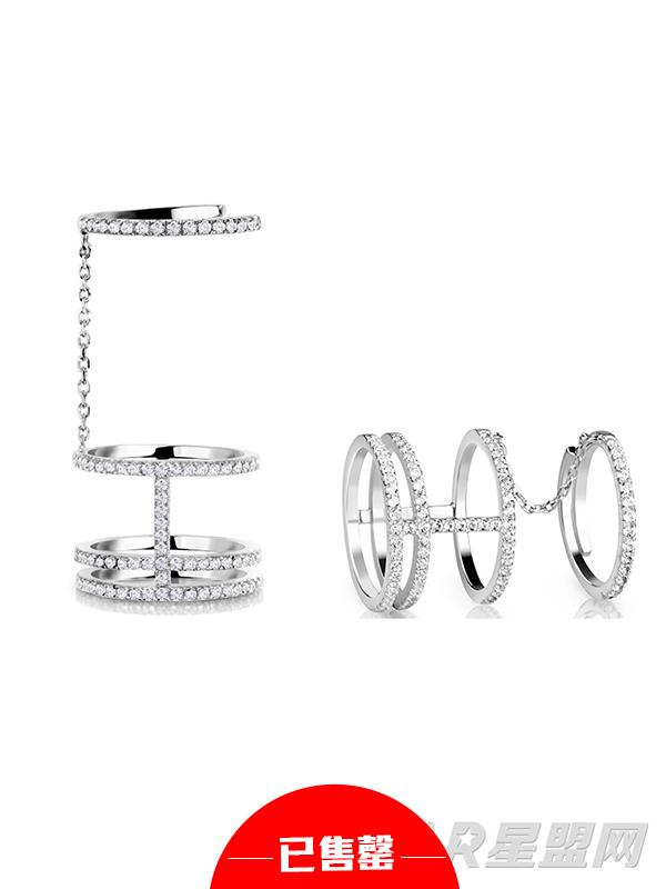 圆圈925银镀金镶托帕石戒指