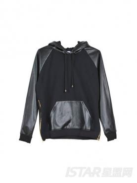时尚纯黑pu拼接外套