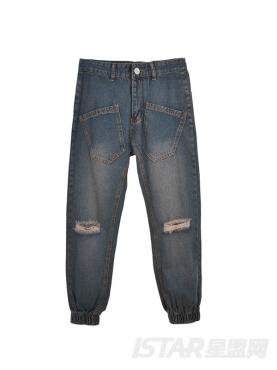 创意反置口袋做旧牛仔裤