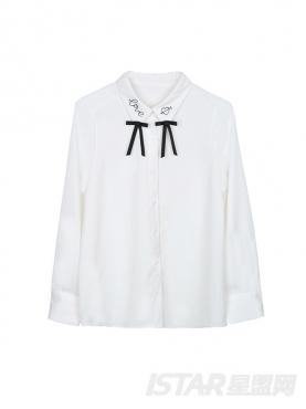 时尚领口蝴蝶结装饰衬衣