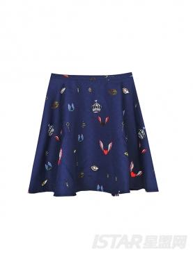 深蓝彩潮流印花半身裙