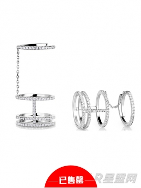 镀金镶钻环型戒指