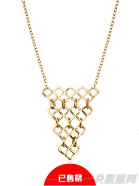 几何拼接倒三角项链