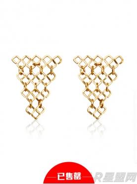 金色三角几何设计耳钉