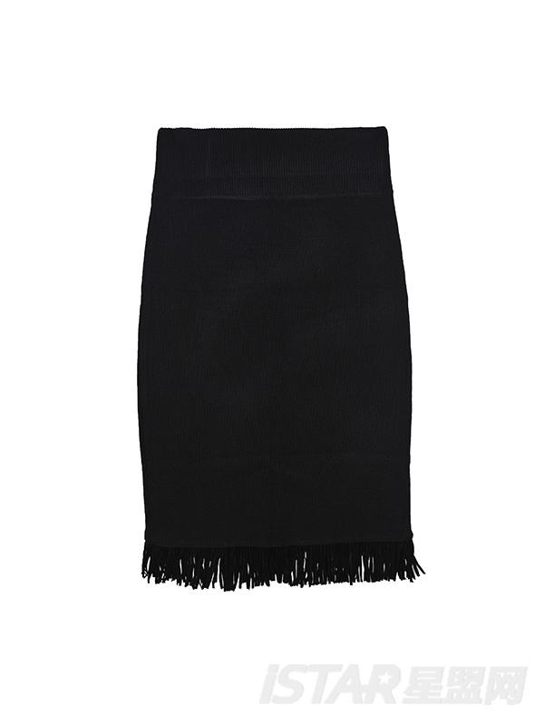 流苏下摆半裙包臀裙