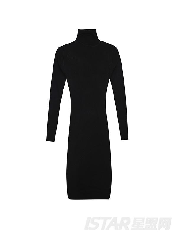 高领紧身连衣裙
