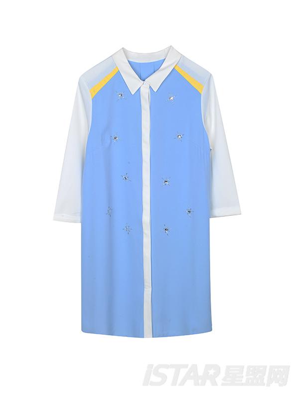 拼接色衬衫连衣裙