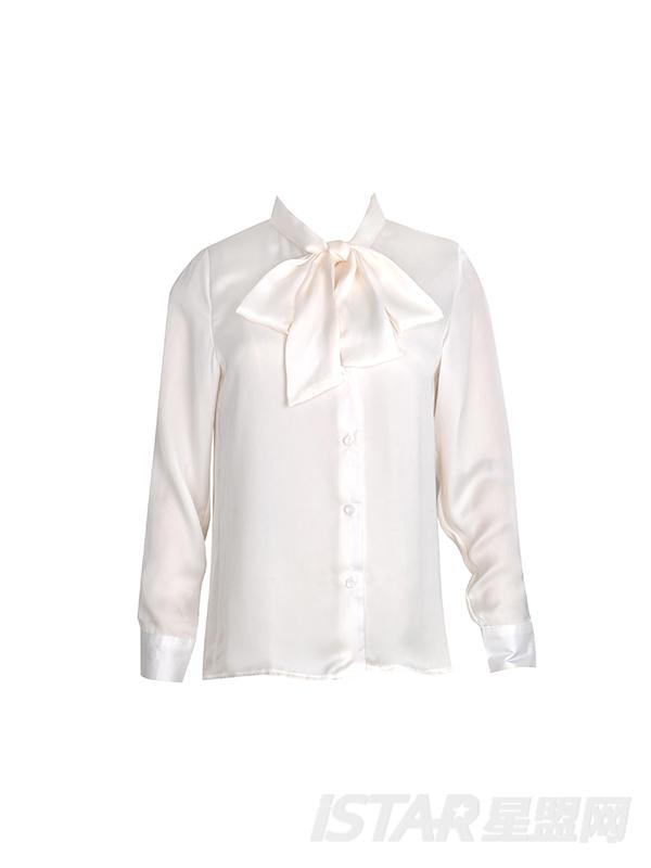 镂空系带雪纺衬衫