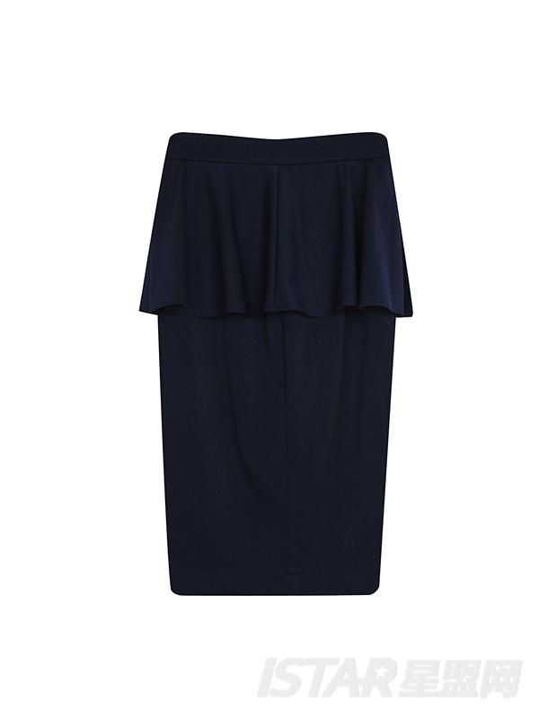 荷叶边包臀开叉高腰半身裙