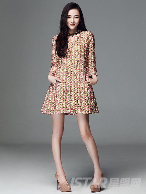欧美提花气质连衣裙