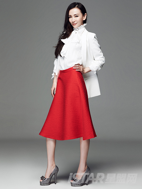 时尚优雅高腰A字长裙
