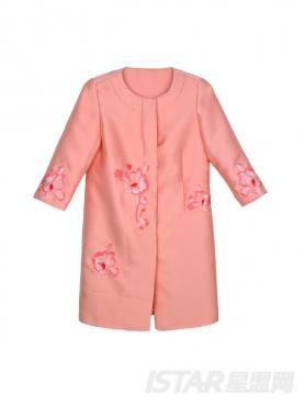 粉嫩花朵刺绣装饰风衣
