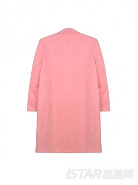 优雅甜美粉色西装领风衣