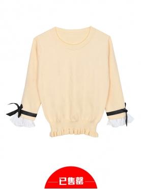 米黄甜美蝴蝶结荷叶边针织衫