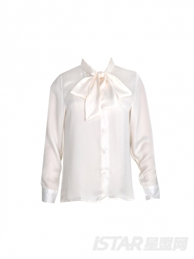 优雅蝴蝶结系带雪纺衬衫