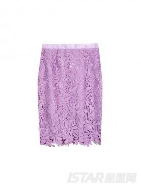 浅紫精致镂空花朵蕾丝半身裙