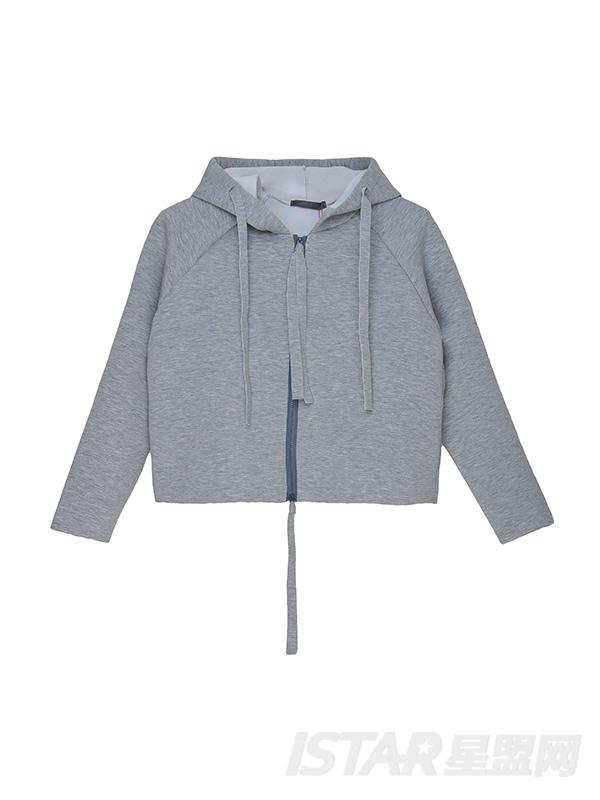 韩版太空棉短款带帽卫衣
