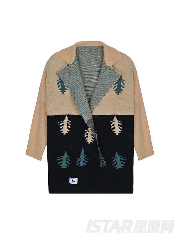 圣诞树拼色针织长款开衫