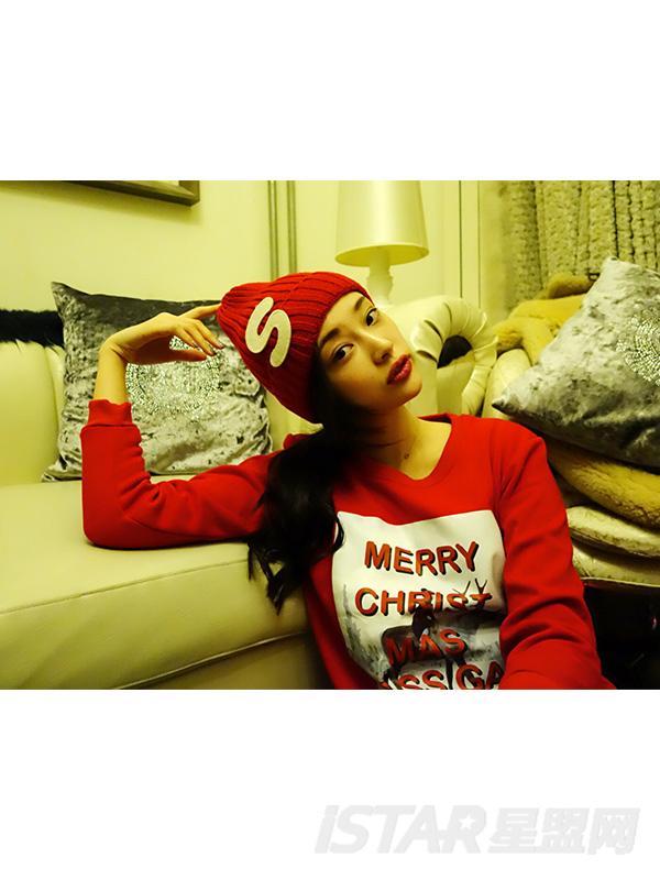圣诞字母贴布毛线帽子