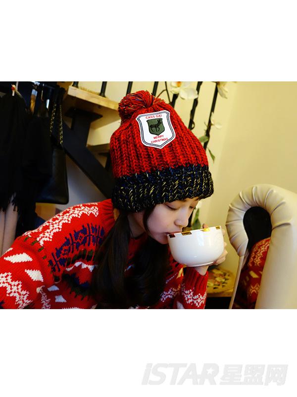 圣诞韩版花色毛球毛线帽